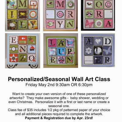 Personalized Artwork Class – Last Chance to Register