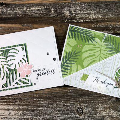Tropical Chic Diagonal Fold Card & Incentive Trip Swap