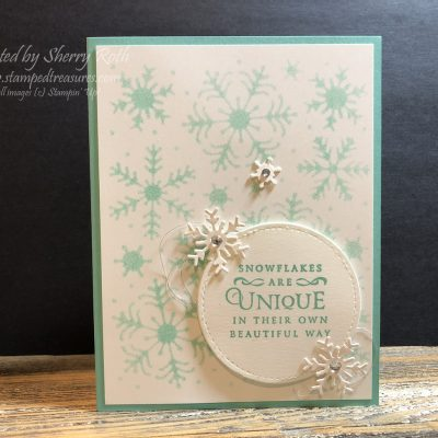Stampin' Up! Beautiful Blizzard Stenciled Background