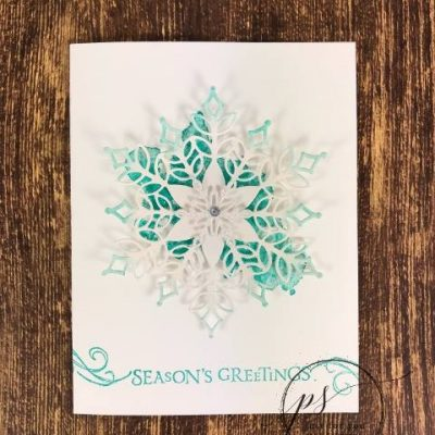 Season's Greetings Card using the Snowfall Thinlits