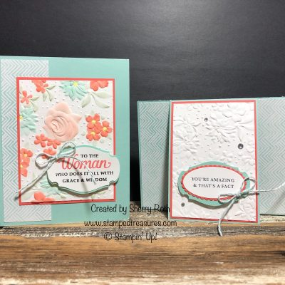 Country Floral Cards – Coloring an Embossed Image and a Front Flip Fun Fold!