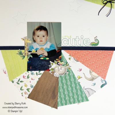 Little Cutie Scrapbook Layout using Stampin' Up!'s Animal Expedition DSP