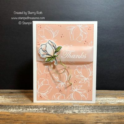 Heat Embossed Thank You Card using the Good Morning Magnolia  bundle