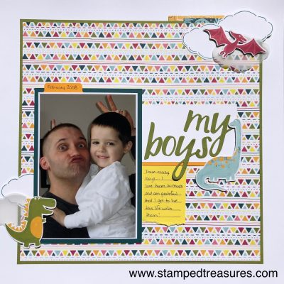 Scrapbook Layout using Stampin' Up!'s Dinoraur Suite