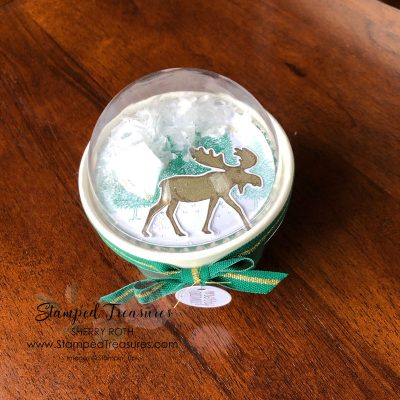 Snow Globe Sweet Cup using Stampin' Up!'s Merry Moose