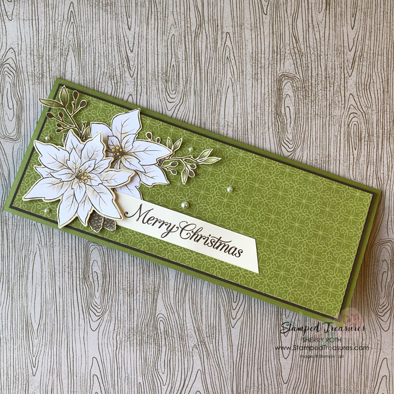 Poinsettia Place Slimline Christmas Card