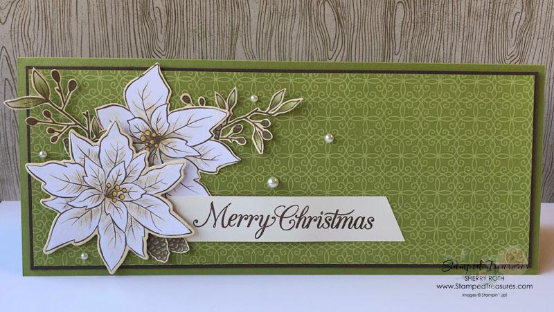 Poinsettia Petals Christmas Slimline Card