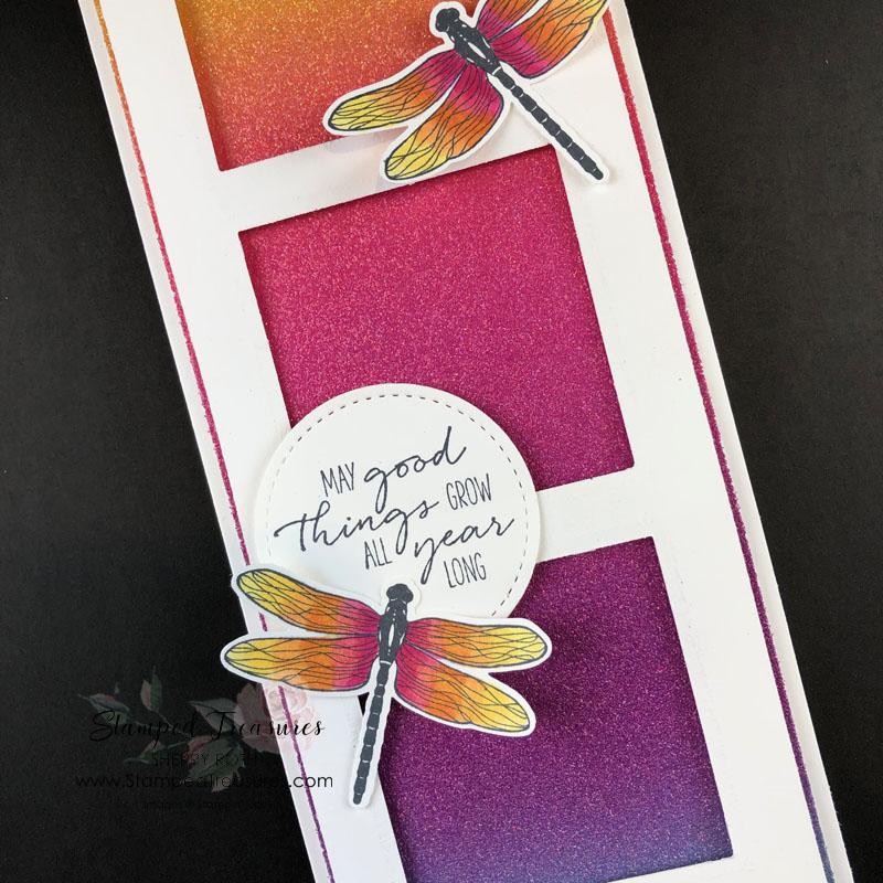Dragonfly Garden Slimline Card