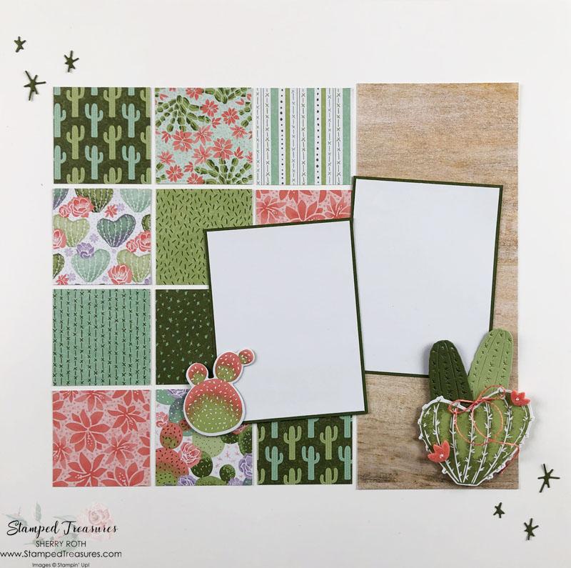 Flowering Cactus Scrapbook Layout