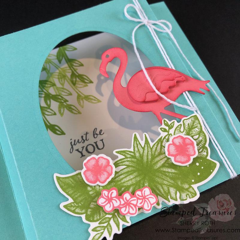 Friendly Flamingo Diorama Card