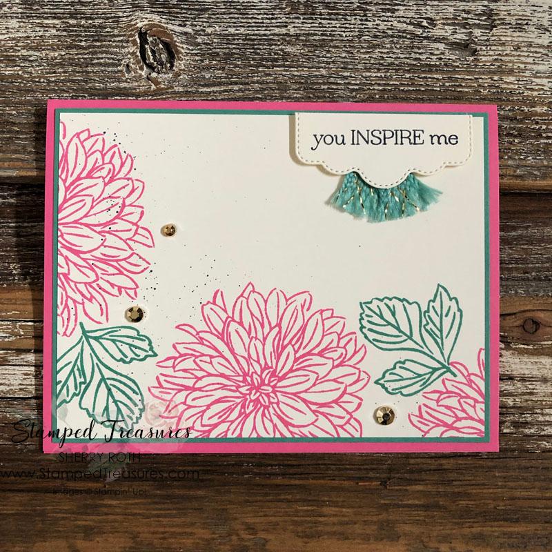 Delicate Dahlias You Inspire Me Card